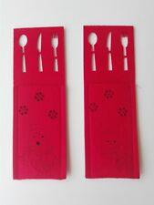 12 portaposate natalizi panno feltro rosso, 2 fantasie all'interno della conf.