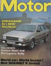 Motor magazine 13/3/1982 featuring Renault road test, Ford, Ambassador