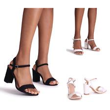 Bloque Talón Sandalias de mujer señoras medio Puntera Abierta Correa De Tobillo Boda Fiesta Zapato Talla