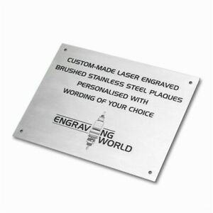 297mm x 210mm Brushed Stainless Steel Personalised Laser Engraving Plaque Sign