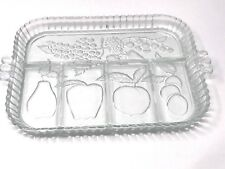 Indiana Glass Serving Platter Tray Vintage Rectangle Fruit Sections Embossed