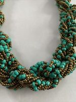 Turquoise Color Bead Gold Tone Seed Bead Multi Strand Twisted Necklace 19""