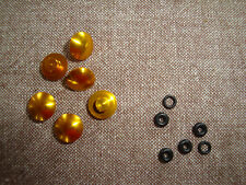 PROBOLT ANODISED ALUMINIUM BOLT CAP BUTTON  M6 WITH RUBBER SEAL IN GOLD SET OF 6