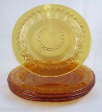 "Amber Glass Art Deco 4 Dessert Salad Plates STUDIO NOVA 8.25"" Embossed Pattern"