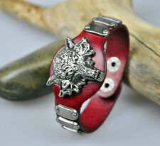 S390 Men's Cool Rock Wolf Studded Real Leather Bracelet Wristband Cuff 4-Color