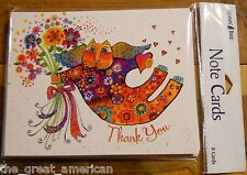 8 Leanin Tree Thank You Cards Laurel Burch Colorful Cat Holding Flowers USA