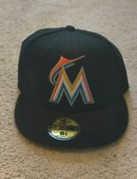 Miami Marlins MLB New Era Authentic On-Field Home 59FIFTY Fitted Hat-Black 6 7/8