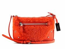 Coach  36490 Orange Shearling & Leather Small Rhyder Pochette Crossbody Bag NEW