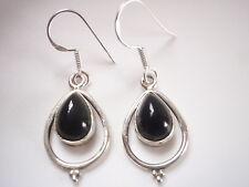 Black Onyx Teardrop in Hoop 925 Sterling Silver Dangle Earrings