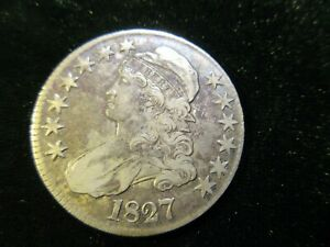 1827 Capped Bust Half Dollar Problem Free VF, Very Fine, FREE SHIPPING!