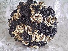 Black and gold rose wedding bridesmaids bridal bouquet + butterflies + diamantes