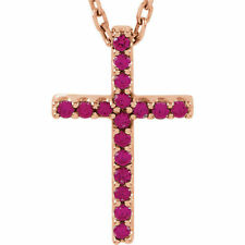 "Ruby Cross 16"" Necklace In 14K Rose Gold"