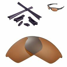 WL Polarized Brown Replacement Lenses Black Rubber Kit For Oakley Flak Jacket