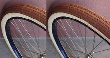 Pair of Tan Brown 26x2.35 Bicycle Fat Tires Slick Beach Cruiser Chopper Vintage