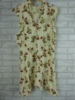 SHAKUHACHI Dress Sz 10 Cream, Red, Brown floral print