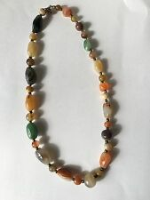 """Fine Old Chinese Carved Polished Agate Jade Carnelian Necklace 18"""""""