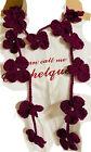 CROCHET Plum Purple FLOWERS LARIAT SCARF WRAP Necklace Women SUMMER HALLOWEEN