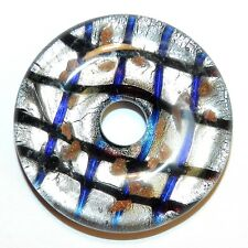 P2652 Blue & Silver w Gold Sparkles 42mm Open Round Donut Lampwork Glass Pendant