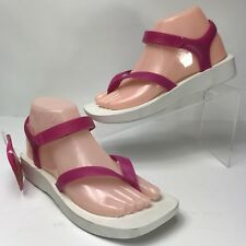 Melissa Womens Sandals 8 EUR 39 Pink White Thong Ankle Strap Mini Platform NEW