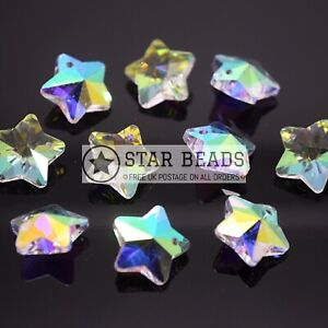 10 X CRYSTAL 14MM FACETED GLASS STAR JEWELLERY MAKING PENDANTS CLEAR AB