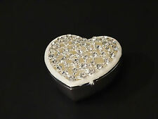 Silver color Jewellery Trinket Box Made with Mother of Pearl Zircons Heart Shape