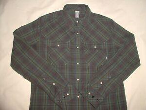 STIO Button Up Shirt,Medium,Green Plaid,Long Sleeve,2 Pockets,Glass Snaps,X-Cond