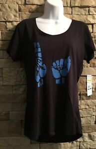 UNDER ARMOUR Womens UA Hand Sign U A Heat Gear Semi Fitted Large NWT Black/Blue