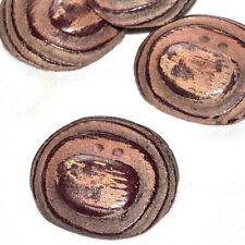 gros Bouton vintage original en résine marron imitation bois 37mm  button