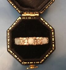 Women's 9ct Gold Moonstone & Diamond Stone Ring Weight 2.83g Size O Stamped