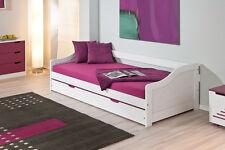Bett Tandembett Funktionsbett 90 x 190 cm massiv weiss lackiert Woody 148-00219