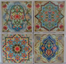 Set of 4 - Handmade Natural Ceramic Tile/Stone Drink Coasters - Oriental 1 - G