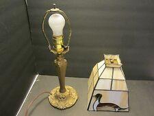 ANTIQUE ART NOUVEAU SPELTER LAMP SLAG STAINED GLASS LAMP Original USA 1900-40
