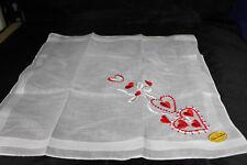 New Vintage All Cotton Handkerchief Hankie Made in Switzerland ~ Red Hearts