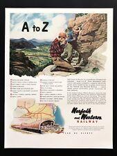1948 Vintage Print Ad NORFOLK And WESTERN Railway Illustration Railroad