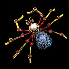Antique Figure Imitated Pearl Deco Yellow Red Feet Blue Crystal Spider Brooches