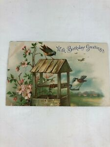 VINTAGE POSTCARD - COLOUR - WITH BIRTHDAY GREETINGS - 1908