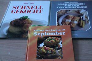 3 Kochbücher Leckerbissen aus der Tiefkühltruhe,was koche ich im September .....