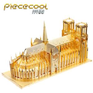 Notre Dame Cathedral Paris- Gold 3D Metal Puzzle Model Kits Assemble Jigsaw Toys