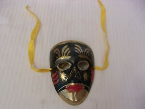 Small Black, Gold & Red Brass Painted Female Mask Wall Hanging Mardi Gras Style