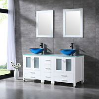 60'' White Bathroom Vanity Cabinet Double Glass Sink w/Faucet Mirror Counter Top