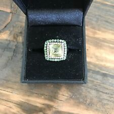 14k White Gold, Diamond, Peridot, Pinky Cocktail Ring Size 4