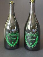 2x DOM PERIGNON Luminous Label LED 0,75l Flasche Leer Deko Champagner Shisha