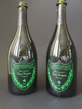 2x DOM PERIGNON Luminous Label LED 0,75l Flasche Leer Deko Champagner Shisha