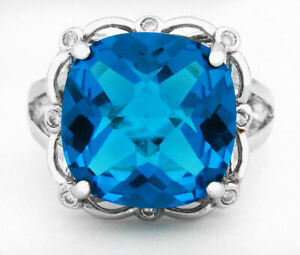 Checkerboard BLUE TOPAZ 10.49 Cts & WHITE SAPPHIRE RING  *Size 8