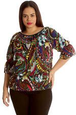 Women Plus Size Top Ladies Paisley Print Gypsy Chiffon Elastic Nouvelle Black 16