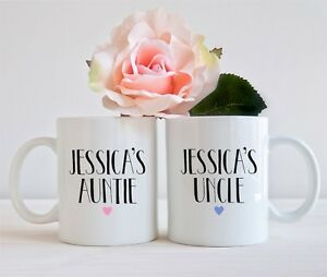 SET OF 2 MUGS PERSONALISED CHILDS AUNTIE UNCLE MUG CUP PRESENT GIFT