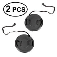2pcs 58mm Center Pinch Snap-On Lens Cap with Leash Canon Nikon Sony DSLR Camera