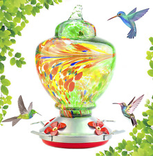 Hummingbird Feeder with Perch - Hand Blown Glass - Green - 38 Fluid Ounces Hummi