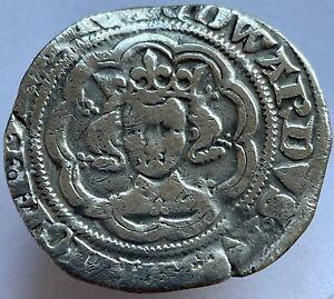 1351-52 Edward III (3rd) Silver Hammered Half Groat London Mint Cross 1 Pommee