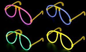 GLOW STICK GLASSES MIX NEON YELLOW PINK BLUE GLOW HEN PARTY FESTIVAL FANCY DRESS